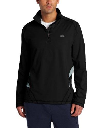 Alo Yoga Men's Speed 1/4 Zip Sweatshirt, Black/Ash, Small