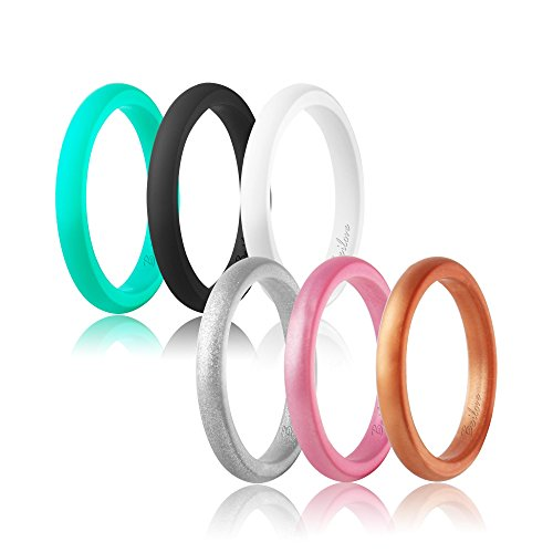 beilove Women's Thin and Stackable Silicone Wedding Ring,6 Ring Pack (Black,White,Silver,Rose Gold,Turquoise,Copper, 8)