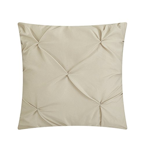 Chic Home Hannah 10 Piece Comforter Complete Bag Pinch Pleated Ruffled Pintuck Bedding with Sheet Set and Decorative Pillows Shams Included, King, Taupe by Chic Home (Image #5)