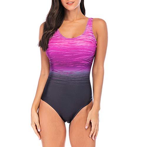 One Piece Swimsuits, Pan Hui Womens Swimming Costume Padded Swimsuit Monokini Push Up Bikini Sets Swimwear Purple ()