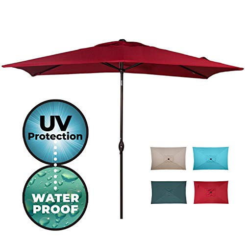 Abba Patio Rectangular Patio Outdoor Market Table Umbrella with Push Button Tilt and Crank, 6.6 by 9.8 Ft, 6.6 x 9.8 , Red