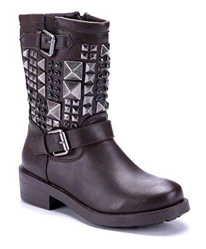 Schuhtempel24 Damen Schuhe Boots Stiefel Stiefeletten Blockabsatz Schnalle/Nieten/Ziersteine 5 cm Braun