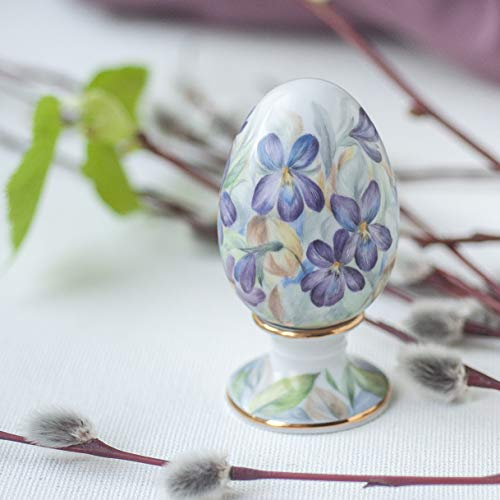 Еaster egg porcelain hand painted - Egg patterned purple flowers - hand-painted porcelain egg 2.36 inches - Easter decor - in one piece