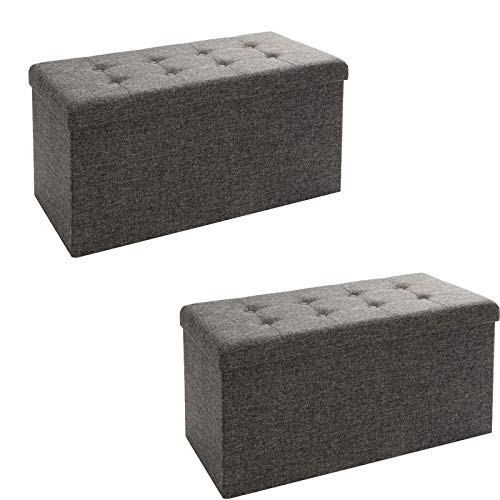 Seville Classics Foldable Storage Bench/Footrest/Coffee Table Ottoman (Set of 2), Charcoal Gray