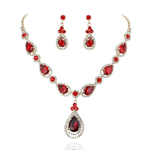 SP Sophia Collection Women's Elegant Crystal Teardrop Statement Necklace Dangle Earring Set in Red