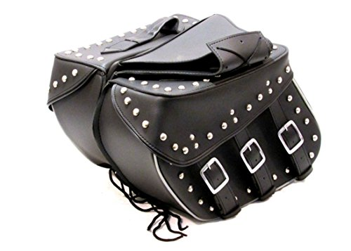 - Sturgis-Mid-West Genuine Cowhide Leather Saddlebags for Harley Motorcycles Zip Off Studded