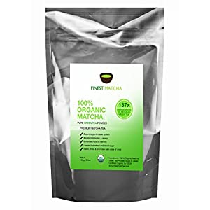 Finest Matcha Green Tea Powder, 100% Organic Japanese Premium Matcha - Fat Burner, Energy Booster, 137 x Antioxidants, 100g