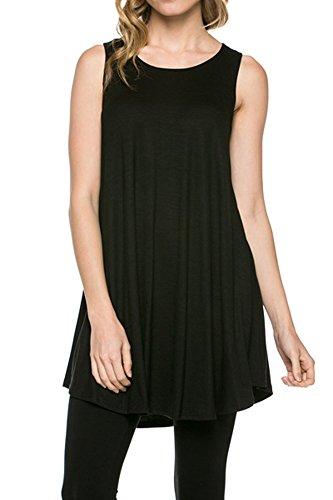 12-ami-solid-basic-long-tank-t-shirt-tunic-black-large