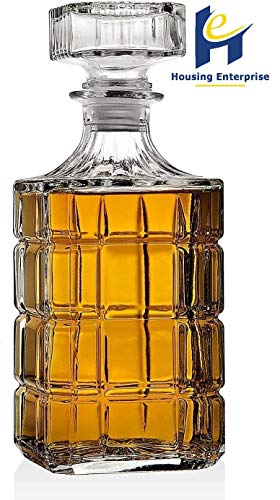HOUSING ENTERPRISE® Italian Style Square Glass Wine Beer Whisky Decanter Drink Water Juice Tea Milk Jug Pitcher Bottle with Lid (900 ML) (1 Whiskey Decanter) Price & Reviews