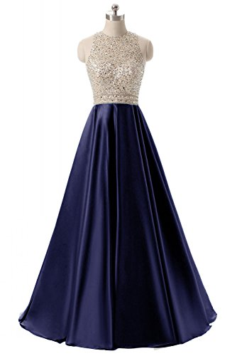 ed Keyhole Back Evening Party Gowns Beaded Formal Prom Dresses Long H123 8 2-Navy (Sequined Long Gown)