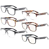 Eyekepper 6-Pack Readers Quality Spring Hinges Retro Reading Glasses Included 2-Pcs Computer Glasses +0.75