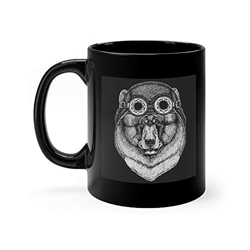 - Black Bear Hand Drawn Tattoo Emblem Badge Logo Patch Cool Animal Wearing Aviator Motorcycle Biker Helmet Water Mug Ceramic 11oz Cup