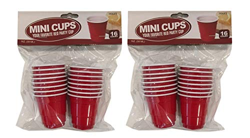 (Disposable Red Shot Glass Cups Plastic Mini Cups 2 oz – 32 Count – Jello Shots, Jager Bomb, Beer Pong, Snacks, Mini Tasting)