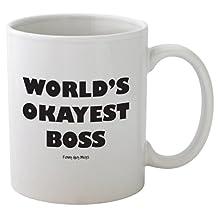 Funny Guy Mugs World's Okayest Boss Ceramic Coffee Mug, White, 11-Ounce
