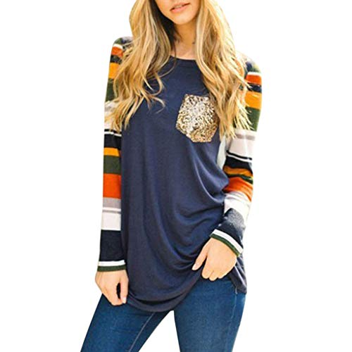 TIANRUN Women's Clothing Striped Ladies Round Neck Long Sleeve Casual Top T Shirt Ladies Loose Long Sleeve Top Blouse