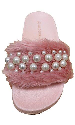 Faux Sandal Women's Platform Pink Pearl Slide 04A Fur Diva Matty Wedge Wild Embellished PqfTY46