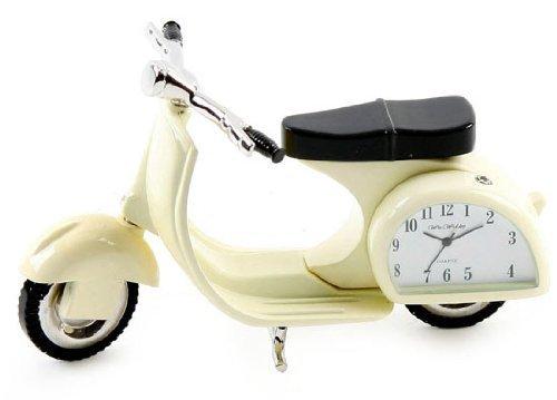 Miniature Clock Vespa Scooter Cream Colour