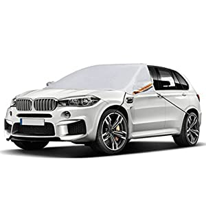"Universal Car Windshield Snow Cover for All Vehicles, Covers Wipers, Ice, Frost Guard Fits Most Car, SUV, Truck and Van with 90"" x 57"" NO PAINT SCRATCHING HOOD MAGNETS"