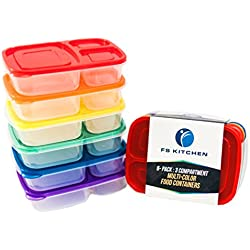 FS Kitchen Dishwasher Safe BPA Free Plastic 3-Compartment Lunch Box