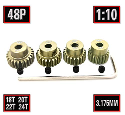 RC 48P 3.175mm Pinion Gear Set 18T 20T 22T 24T Teeth with Screwdriver for 1/10 1:10 RC Car Upgrade Aluminum Pinion Gear by MakerDoIt ()