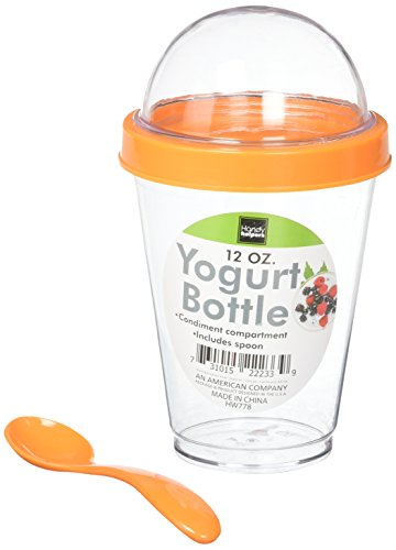 (Kole HW778 Yogurt Cup with Topping Compartment and Spoon, Regular)