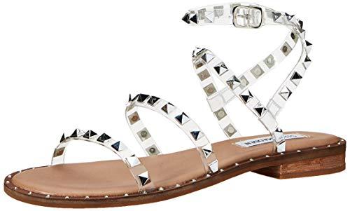 Steve Madden Women's Travel Flat Sandal, Clear, 7.5