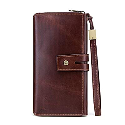 Contacts Real Leather Mens Secretary Checkbook Phone Holder Purse Bifold Trifold Wallet