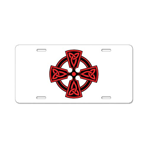 Chrome Celtic Cross - luckmx Red Celtic Cross Abstract Art Aluminum Car Metal License Plate Frames Car Plate Tag 12