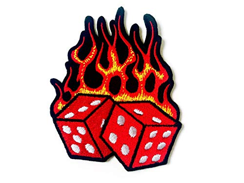 Tyga_Thai Brand Dice Fire Flame Tattoo Biker Rider Logo Applique Embroidered Sew on Iron on Patch for Backpacks Jeans Jackets T-Shirt Clothing etc. (Iron-DICE-FIRE-Flame)