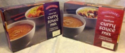 2 x Mayflower Chinese curry sauce- extra hot and medium
