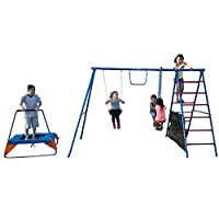 FITNESS REALITY KIDS Fun Series Metal Swing Set with Trampoline & Ladder Climber