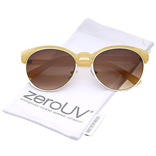 zeroUV - Classic Double Nose Bridge Metal Trim Round Cat Eye Sunglasses 55mm (Nude-Gold / - Cat Nude Sunglasses Eye