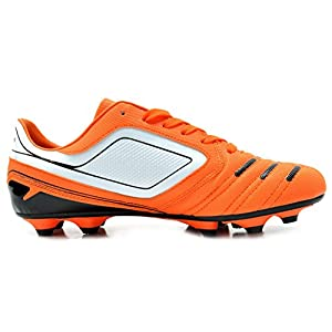 Dream Pairs 151028 Men's Sport Flexible Athletic Free Running Light Weight Indoor/Outdoor Lace Up Soccer Shoes ORANGE-WHT-BLK SIZE 10