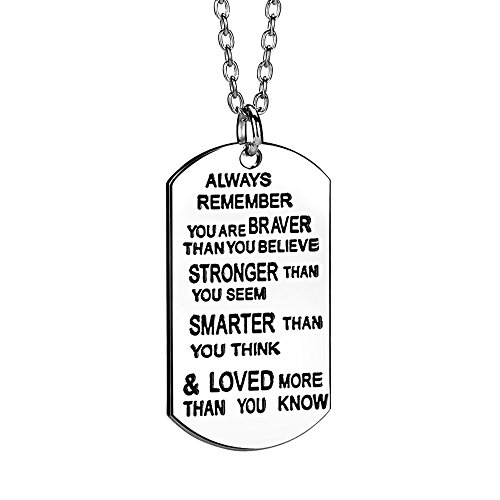 lauhonmin Always Remember You are Braver/Stronger/Smarter Than You Think Pendant Necklace Family Friend Gift Unisex(Made of Zinc Alloy) (Birthday Gift Ideas For Boy Best Friend)