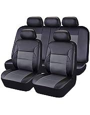 CAR PASS - 11 st lyxigt PU-läder bil universellt sätesöverdrag set paket – universell passform för fordon med super 5 mm sammansatt svamp inuti, krockkudde kompatibel (svart och grå)