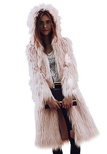 LLQ Abrigo para Mujer Invierno Piel Abrigo Pelo Encapuchado Chaqueta Piel Long Section Ropa Caliente Abrigo Pelo Mangas Largas Ropa Pelo(Negro): ...