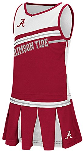 Youth Piece Cheerleader Outfit 2 (Girls Toddler Alabama Crimson Tide Crimson Curling Cheer Set (2T))