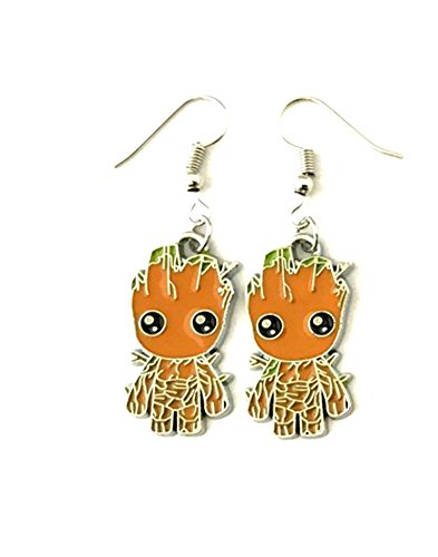 J&C Family Owned Marvel Baby Groot Cute Dangle Charm Earrings Amazing Gift For Cosplay Events, Birthday, Christmas and Many Others! Comes With Free Gift -