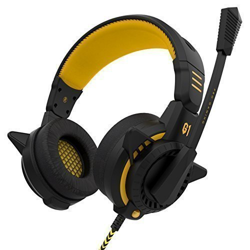 Headset, Sound Intone G1 Pc Gaming Headset with Microphone, Over Headphones with Inline Volume Control for Pc Games, Laptop, Tablet, Computer (Black/yellow)