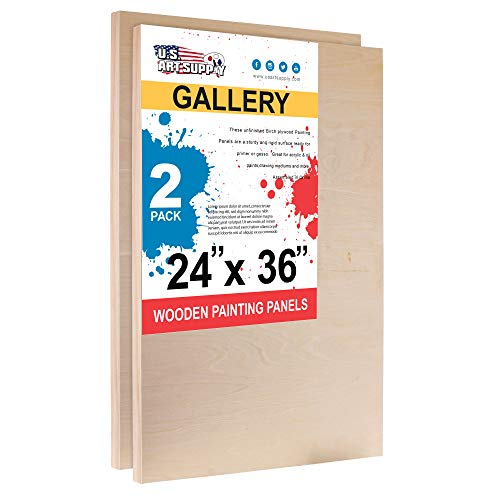 U.S. Art Supply 24 x 36 Birch Wood Paint Pouring Panel Boards, Gallery 1-1/2 Deep Cradle (Pack of 2) - Artist Depth Wooden Wall Canvases - Painting Mixed-Media Craft, Acrylic, Oil, Encaustic