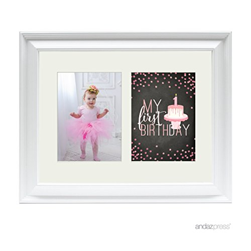 Andaz Press Double White 5x7-inch Photo Frame, My 1st Birthday, Girl, 1-Pack, Picture Gift Wall ()