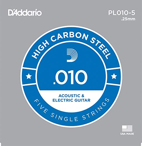 Daddario Single Guitar Strings - D'Addario PL010-5 Plain Steel Guitar Single String, .010 5-pack