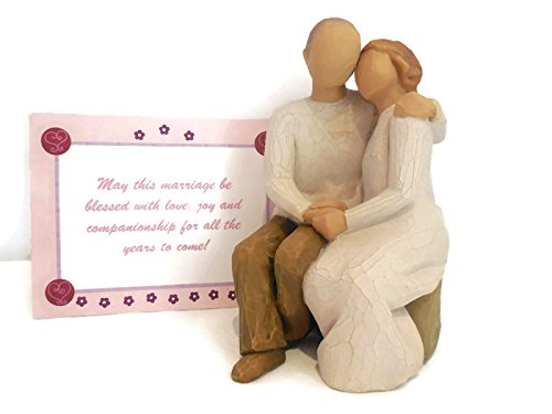 Willow Tree Anniversary Figurine Bundle with Happy Anniversary Note Card Best Anniversary Gifts Ideas for A Couple, Her,Wife,Parents,Women (Gift Card Tree Ideas)