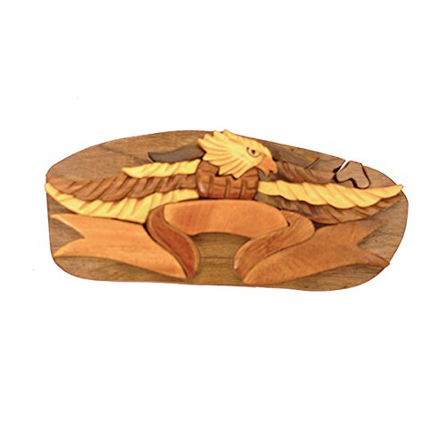 Handmade Wooden Art Intarsia TRICK SECRET God Bless America Patriotic Puzzle Trinket Box Puzzle Box (3435) (g2)