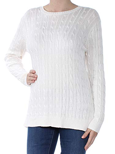 LAUREN RALPH LAUREN Womens Crew Cable Knit Pullover Sweater Ivory ()