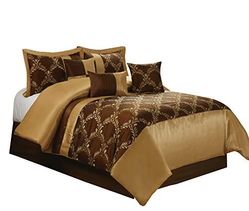 7 Piece Claremont Medallion Design Bed in a Bag Brown/Gold Comforter Sets Queen King CalKing (King, Brown)