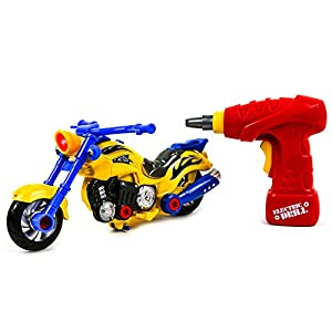 Toysery Educational Take-A-Part Motorcycle Toys For Kids with Electric Drill and Power Tools | Build and Rebuild Your Own Motor Bike | Flashing Lights and Realistic Sounds | More than 20 Parts