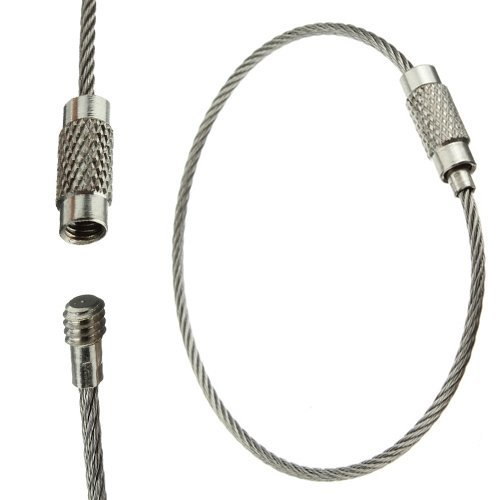 Water & Wood Cable Key Ring Stainless Steel Wire Chain Holder (Pack of 10)
