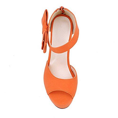 Adee Mujer de lazos cremallera Poliuretano Sandalias Naranja - Jacinth