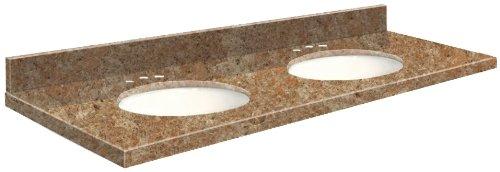 Samson G61222-G1-A-W-8C Granite Vanity Top 61x22 with Dou...